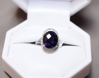 14K White Gold Oval Iolite and Oval Diamond Halo Ring
