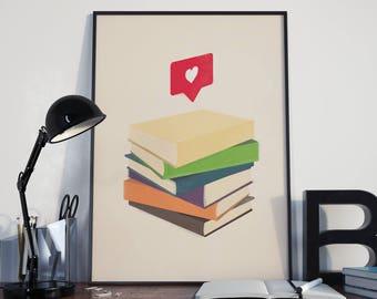 Books | Reading | Book Lover | Love | Instagram | Social Media | Pop Art | Poster