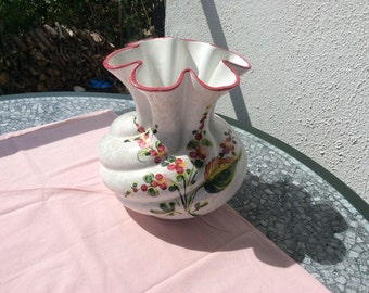 Beautiful vase vintage french floral pattern hand painted
