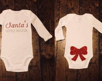 Santa's Little Helper Christmas Bodysuit, Holiday Bodysuit, Baby Bodysuit, Custom Bodysuit, Glitter Bodysuit, Baby Shower Gift, Baby Gift