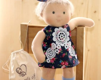 Waldorf doll Baby Rag Doll Soft Doll Toddler Toy Waldorf Inspired Doll with jeans dress 16 inch doll cuddle doll Nature Toy Steiner Doll