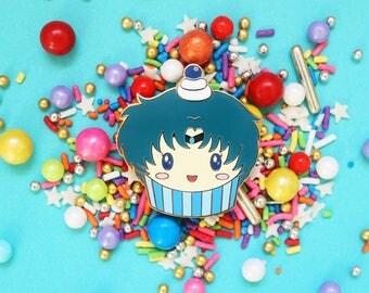Sailor Moon Enamel Pin - Sailor Mercury Cupcake