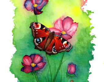Butterfly, Fine Art Print, Watercolour, Flowers, Wall Art, Wall Decor, Home Decor, Nature, Gift, Realistic