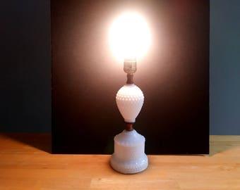 Tall Milk Glass Lamp Hobnail, Vintage milk Glass Lamp, table top lamp, white glass lamp  1960s