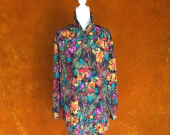 Vintage 1980s Psychedelic Multi-colored Long Blouse
