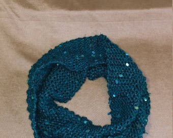 Rich teal sequined scarf