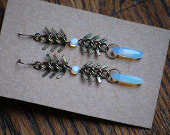 "Double Chevron Herringbone 3"" Long Earrings Antiqued Gold Bronze Brass Metal Chain with Milk Glass Drops"