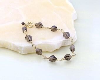 Smoky Quartz Bracelet, Smoky Quartz and Gold Bracelet, Gold-fill Wire Wrapped Smoky Quartz Gemstones, Brown Gemstone Bracelet, Gift for Her