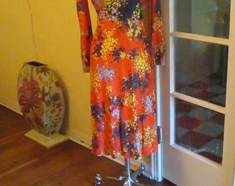 Vintage Dresses 1970s Flower Power Dress Size 10 Flattering Colorful / V Neck Collar
