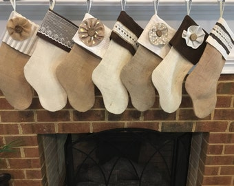Classic Cream, WITHOUT name tag, Personalized Burlap Stocking -CHRISTMAS SALE!