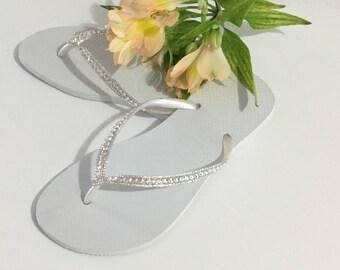 White Havaianas Slim Crystal Wedding flip flops Silver ocean sea Custom Bridal w/ Swarovski Bling Dynamite Rhinestone Beach Thong Shoes