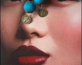 CHINA TOWN felt ball dangle earrings, Boho Gipsy wool felted ball earrings, filigree brass caps, ethnic chinese beads, dark petrol turquoise