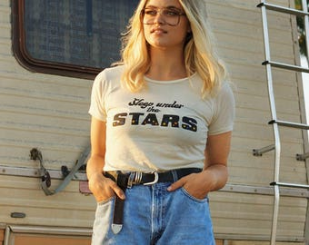 Sleep under the Stars- womens graphic tee- vintage inspired- camping tee- cotton- graphic tee- made in usa- tee- vintage tee-