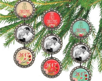 Couples first Christmas married our first Christmas ornament photo ornament with date custom wedding gift.