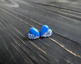 Blue stud earrings marine girlfriend gift bridesmaid earrings navy girlfriend blue silver heart earrings marine wife gift nautical jewelry