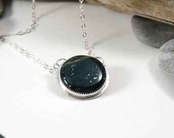 """Ocean Jasper """"Neptune"""" Planetary Pendant, sterling silver planet necklace"""