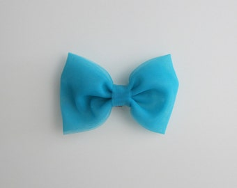teal tulle hairbow