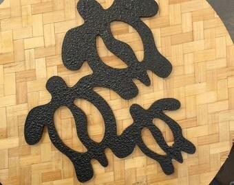 Hawaiian Petroglyph Sea Turtle family Ohana o ke kai  Honu   Pohaku Stone Style Wall Art