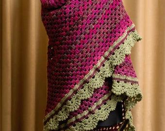 Crochet shawl with trim, Triangle lace shawl, Lace shawl, crochet stole, Handmade batik shawl, Lace crocheted shawl, crochet wrap shawl