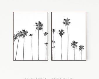 Set of 2 Prints Palm Trees Wall Decor Print Poster Tropical Beach Marine Art Landscape Black White Nature Sea Minimalist Banana Leaf 1010