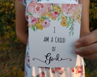 I am a Child of God Print, Christian Nursery Wall Art, Christian Wall Art, Baby Girl Nursery Print, Bible Verse Art, Baby Girl Nursery Decor