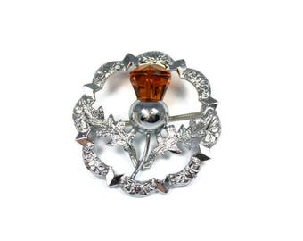Vintage Scottish thistle brooch, Mizpah pin, orange stone, Scotland jewelry, round thistle brooch, highland dress, outlander, Celtic pin