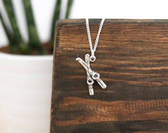 Silver Ski Necklace •  Mothers Day jewellery gifts presents for mum wife girlfriend her, winter, mountains are calling, jewelry