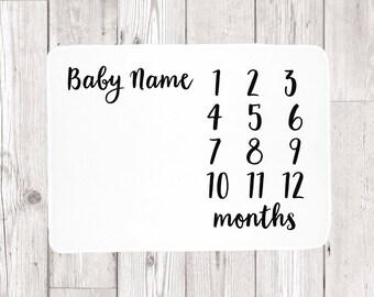 Milestone Baby Blanket -  Baby Month Blanket - Monthly Baby Blanket - Age Blanket - Personalized Girl Blanket - Baby Name Blanket Boy