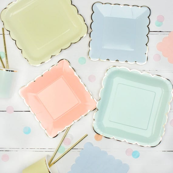 Like this item? & Pastel Paper Plates With A Gold Foil Scalloped Edge Ideal for