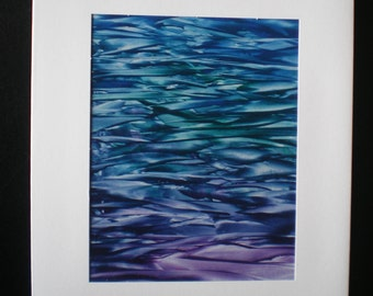 Reflections on the sea, Original encaustic wax art greetings card