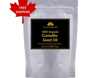 100% Pure Organic Camellia Seed Oil 25 ml - FREE SHIPPING - Silky Skin, Hair Conditioner, and Nail Strengthener