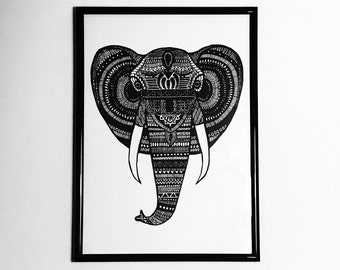 A4 Elephant Pen & Ink Illustration