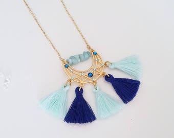Necklace pendant ethnic half moon and tassel necklace ethnic Chic & Amazonite rhinestone Swarovski Capri blue and Aquamarine