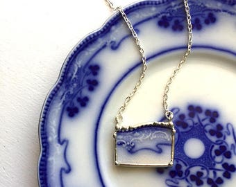 Broken china jewelry - broken china necklace - 1880's - antique Art Nouveau, English flow blue china, recycled china, rectangular