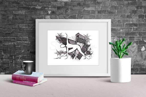 Yoga Art Zentangle TRIANGLE Pose - print from original design and drawing, yoga wall decor