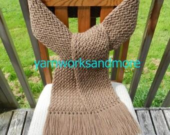 Knit Scarf, Winter Scarf, Brown Knit Scarf, Brown Scarf, Loom Knit Scarf, Warm Scarf, Handmade Scarf, Fringed Scarf