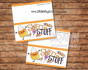 Sweet Stuff Halloween Candy Bag Topper, Printable, customizable
