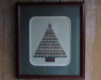 Intricate Vintage Framed Needlepoint Christmas Tree,Handmade Christmas Wall Hanging Fiber Art,Needlepoint Wall Hanging Framed Christmas Tree