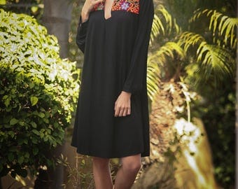 Tribal Short Dress, Moroccan Inspired Caftan, Black Ethnic Dress, Embroidery Dress, Kaftan Black Lycra Dress, Long Sleeves Bohemian Dress