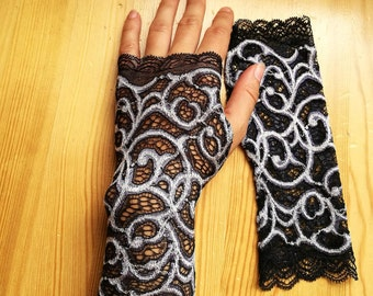 Black and Silver  Lace Fingerless Gloves, Wedding, Gothic, Regency, Tribal, Bellydance, Goth, Bridesmaid, Vampire,