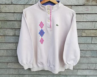 CHEMISE LACOSTE Vintage sweatshirt, hazelnut geometric 80s 90s