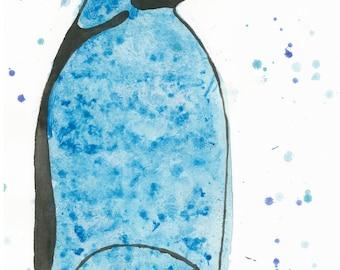 8 X 10 Daddy & Baby Penguin | Wildlife Original Art | Kids Room Wall Decor | Nursery Decor | Baby Room Art | Penguins Art