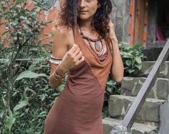 Peace Warrior dress - size 8-12 ethnic tribal  urban nomad jungle warrior pixie forest elf bamboo suede and organic cotton