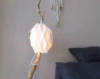 Lamp origami, driftwood, cosy, original, handmade, craft, decoration