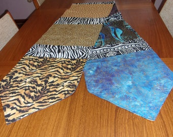 Delightful Handmade Reversible Animal And African Print Fabric Table Runner