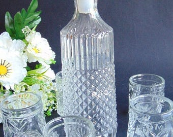 20% SALE Whiskey Decanter,Decanter and glass,Vintage Glass Decanter with 5 glasses, Liquor Decanter,Carafe,Kithcen Decor