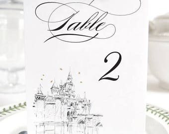 Disneyland InspiredCastle, Fairytale Wedding, Disney Table Numbers (1-10)