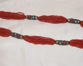 Carnelian Seed Bead Multi Strand Necklace