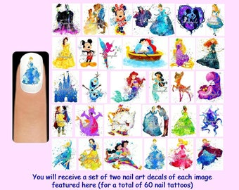60 x DISNEY WATERCOLOUR Nail Art Decals + Free Rhinestones Silhouette Watercolor Princesses Princess Frozen Cinderella Snow White Sleeping