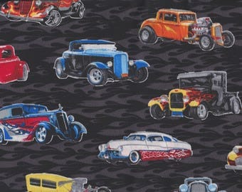BTY Classic HOT RODS Cars on Black Print 100% Cotton Quilt Craft Fabric by the Yard